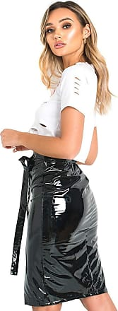 Ikrush Iggy PVC Zipped Midi Skirt Black UK 8