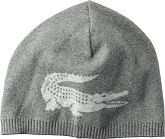 1e5ad3e0 Lacoste Mens Big Crocodile Jacquard Reversible Wool Beanie, Stone Silver  Chine, One Size
