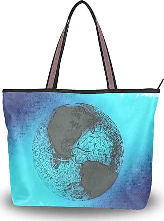 Lorona Women Globe Earth Abstract Drawing Canvas Shoulder Hand Bag Large Capacity Tote Bag