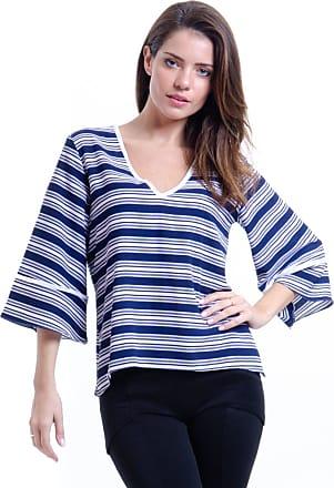 101 Resort Wear Blusa 101 Resort Wear Decote V Boho Cropped Crepe Listras Azul