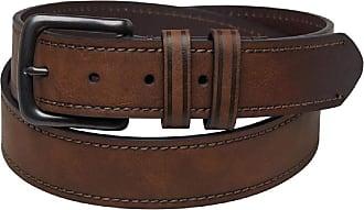 Original Penguin Mens Tyler Coated Bonded Leather Belt Brown (Small/Medium)