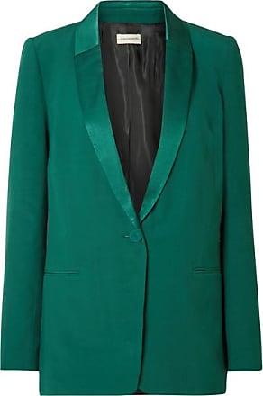 By Malene Birger Auberon Satin-trimmed Crepe Blazer - Emerald