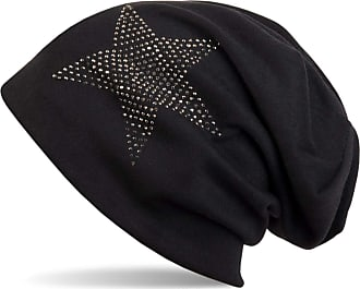 styleBREAKER Warm Beanie hat with Star Rhinestone Application, Unisex 04024023, Color:Black-Grey