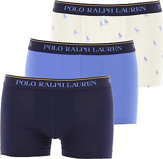 Ralph Lauren Intimo Boxer da Uomo On Sale in Outlet, 3 Pack, Blue Marine, Cotone, 2019, XL