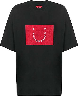 424 Kastiges T-Shirt mit Print - Schwarz