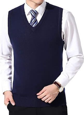 Yidarton Mens Winter V Neck Sleeveless Jumpers Classic Business Knitted Gilets Vest Tank Sweater (Navy, XXXL)