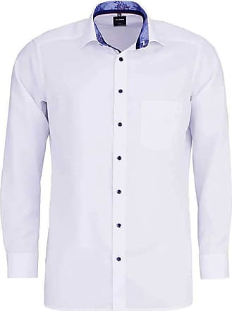 Olymp Luxor Modern Fit Long Sleeve Shirt with Floral Trim - White 15.5 (39cm) White with Blue Trim