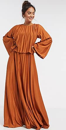 Asos double layer cape pleated maxi dress in orange