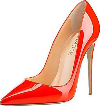 ee7fea44d7a210 MERUMOTE Frauen Spitz Stiletto High Heel Lackleder Kleid Party Üblichen  Pumps Orange 45 EU