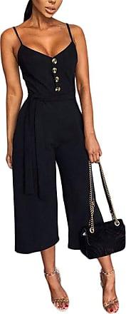 QIYUN.Z Women Wide Leg Trousers Sleeveless Strapless Jumpsuit Romper Bodycon Playsuit Clubwear Long Party Jumpsuits for Women Black M