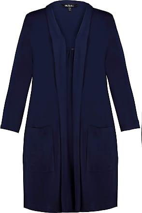 Ulla Popken Womens Plus Size Matte Jersey Open Front Jacket Navy 28/30 720014 75-54+