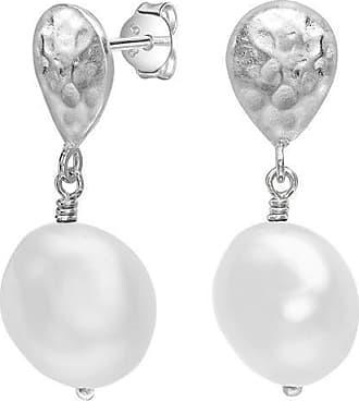 Dower & Hall Teardrop & White Baroque Pearl Earrings
