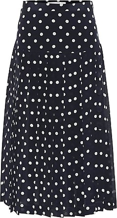 Alessandra Rich Polka-dot pleated silk midi skirt