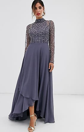 Asos maxi dress with linear embellished bodice and wrap skirt-Blue