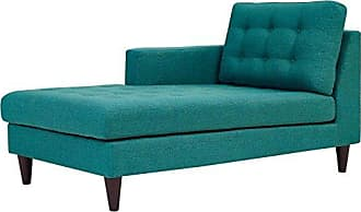 ModWay Modway Empress Mid-Century Modern Upholstered Fabric Left-Arm Chaise Lounge In Teal