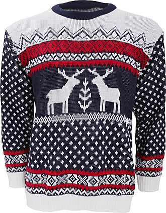 Universal Textiles Mens Knitted Reindeer Duo Christmas Jumper (X-Large) (Navy/White)