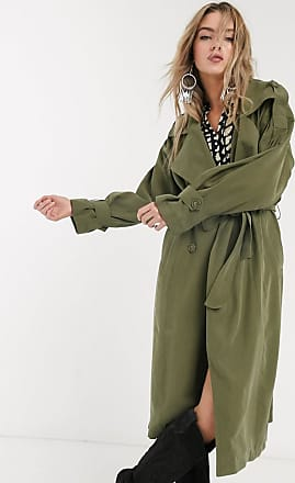 Object oversized trench coat with volume sleeves in khaki-Green