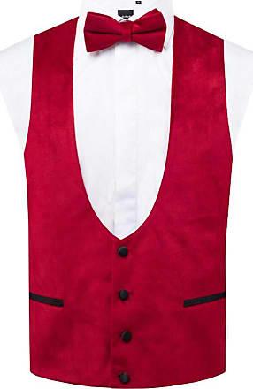 Dobell Mens Red Velvet Tuxedo Waistcoat Regular Fit-L (42-44in)