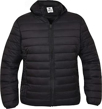True Face Mens Quilted Jackets with Hood Collared Padded Coats Winter Puffer Outerwear Black X-Large