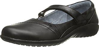 Naot Naot Womens Korari Mary Jane Flat, Jet Black Leather/Pleated Black Leather/Black Madras, 36 EU/5-5.5 M US