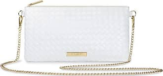 Katie Loxton Freya Golden Chain Womens Vegan Leather Convertible Crossbody Clutch Handbag White Size: 10.5 x 6 x 1