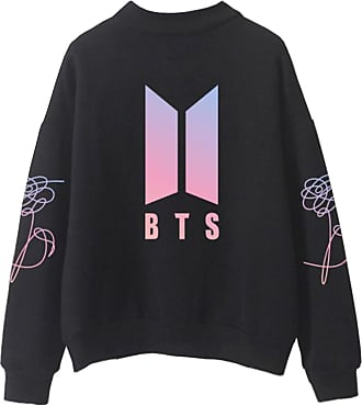 EmilyLe Ladies BTS Love Yourself Hoodie Long Sleeve Sweater Jin Suga J-Hope RM Jimin V Jung Kook (S, Black)