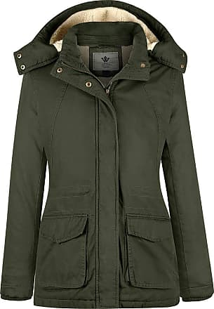 WenVen Womens Insulated Casual Hooded Cotton Jacket Army Green Medium
