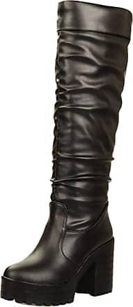 RAZAMAZA Women Fashion Platform Slouch Boots High Heel Long Boots Pull On Boots Knee High Black Size 42 Asian