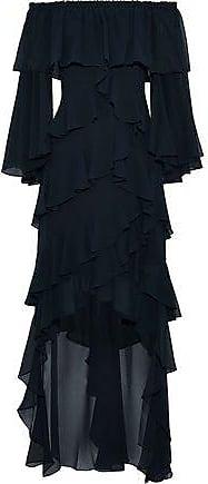 Badgley Mischka Badgley Mischka Woman Off-the-shoulder Ruffled Chiffon Gown Navy Size 4