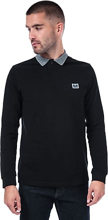 Weekend Offender Mens Mens Tennants Checker Long Sleeve Polo Shirt in Black - L