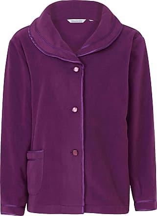 Slenderella Ladies 24/61cm Soft Purple Fleece Collared Button Up Bed Jacket with Classic Satin Trim Size Medium 12 14