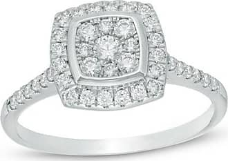 Zales 1/2 CT. T.w. Composite Diamond Cushion Frame Engagement Ring in 10K White Gold