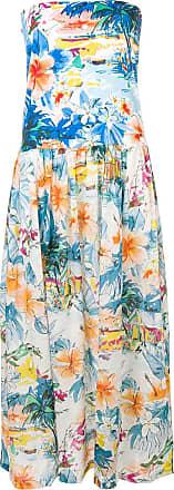 Blumarine Vestido tomara que caia com estampa tropical - Azul