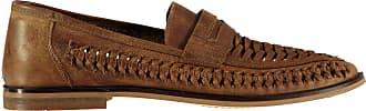 Firetrap Mens Marrone Woven Loafers Slip On Small Heel Strap Casual Stripe Tan UK 11 (46)