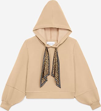 The Kooples Camel-coloured hoodie with leopard drawstring - WOMEN