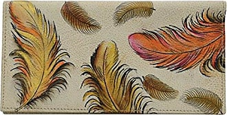Anuschka Womens Genuine Leather Checkbook Cover Hand Painted Original Artwork Floating Feathers Ivory
