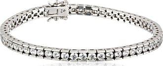 Amazon Collection Platinum or Gold-Plated Sterling Silver Swarovski Zirconia Round Tennis Bracelet