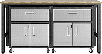 Manhattan Comfort 17GMC Fortress Mobile Space Saving Steel Garage Storage Cabinet and Work Task Table Set, Gray