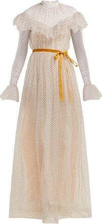 Erdem Mirabelle Ruffled Polka-dot Tulle Gown - Womens - White Multi