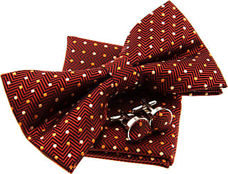 Retreez Zig Zag Striped Textured with Polka Dots Woven Microfiber Pre-tied Bow Tie (Width: 5) with matching Pocket Square and Cufflinks, Gift Box Set as a Chr