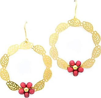 Tinna Jewelry Brinco Dourado Roda De Folha Com Bolinhas Pau Brasil