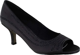Easy Street Womens Lady Pump, Black Satin, 10 X-Wide