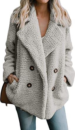 Yidarton Womens Winter Teddy Bear Coat Ladies Fuzzy Fleece Lapel Long Sleeve Outwear Jacket Cardigan (Light Grey, XX-Large)