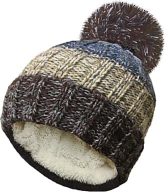 TOSKATOK Unisex Mens Ladies Warm Winter POM POM Striped Beanie HAT with Cosy Fleece Lining
