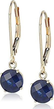 Amazon Collection 10k Yellow Gold Round Checkerboard Cut Created Blue Sapphire Leverback Earrings (6mm)