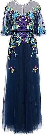 Marchesa Marchesa Notte Woman Grosgrain-trimmed Embellished Tulle Gown Navy Size 6