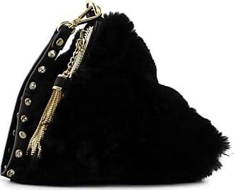 Ermanno Scervino Womens black faux fur triangular clutch bag with pendant