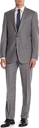 Hart Schaffner Marx Grey Sharkskin Two Button Notch Lapel Wool Classic Fit Suit