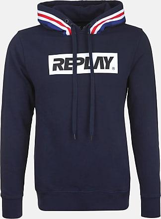 Replay Herren Kapuzensweatshirt - mit Logo-Print blau