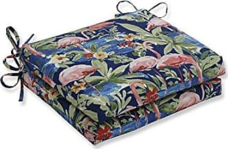 Pillow Perfect Outdoor | Indoor Flamingoing Lagoon Squared Corners Seat Cushion (Set of 2), Blue 18.5 X 16 X 3